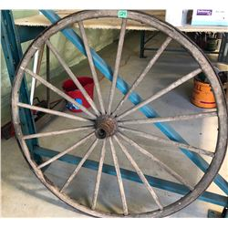 "APPROX 40"" WOODEN SPOKED WAGON WHEEL"