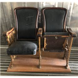 SET OF LEATHER AND CAST THEATRE SEATS - MEAFORD