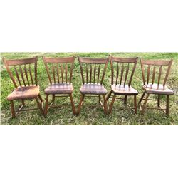 SET OF 5 ARROW BACK PLANK CHAIRS