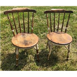 SET OF ROUND BOTTOM PLANK CHAIRS