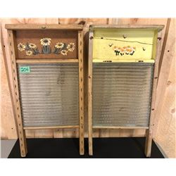 2 X FOLK ART WASH BOARDS