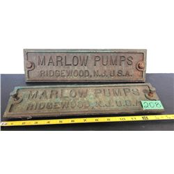 2 CAST NAME PLATES - MARLOW PUMPS