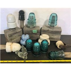 14 X VARIOUS SIZED GLASS / CERAMIC INSULATORS