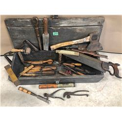 ANTIQUE WOODEN TOOL BOX WITH CONTENTS