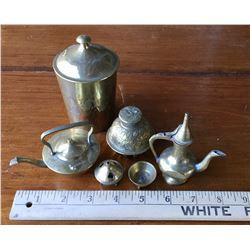 MINIATURE INDIAN BRASS TEA SET