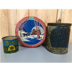 3 X ANTIQUE TINS