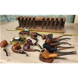 SET OF VINTAGE PIPES WITH STANDS