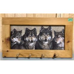 PIN FRAMED WOLF SCENE WALL ART WITH HAT HOOKS