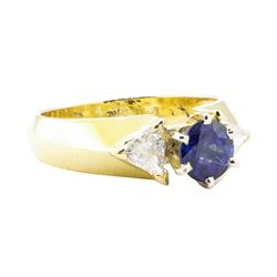 1.73 ctw Sapphire And Diamond Ring - 18KT Yellow Gold