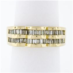 14k Yellow Gold .95 ctw Baguette Cut Diamond Wavy Grooved Dual Row Band Ring