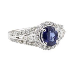 1.95 ctw Sapphire and Diamond Ring - 18KT White Gold