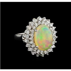 5.14 ctw Opal and Diamond Ring - 14KT White Gold