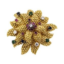 3.34 ctw Emerald, Sapphire, Ruby and Diamond Pendant-Pin - 22KT Yellow Gold