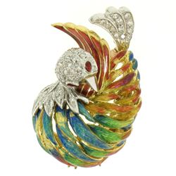 18k Yellow Gold Multi Color Enamel 46 Diamond Peacock Pin Brooch