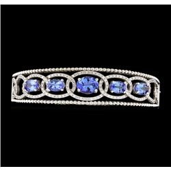 5.03 ctw Tanzanite and Diamond Bracelet - 14KT White Gold