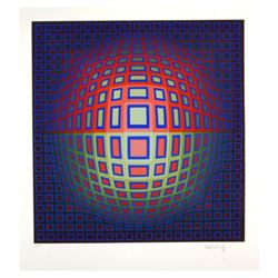 Blue Composition by Vasarely (1908-1997)
