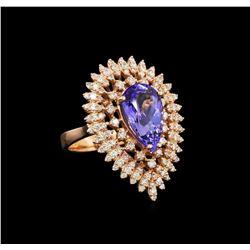 14KT Rose Gold 4.05 ctw Tanzanite and Diamond Ring