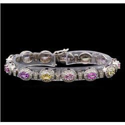 14KT White Gold 6.67 ctw Multicolor Sapphire and Diamond Bracelet