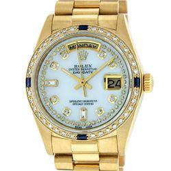 Rolex Mens 18K Yellow Gold MOP String Diamond & Sapphire Quickset President Wris