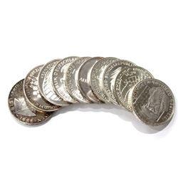 Ten 10ct. Silver German 5 Mark Coins BU