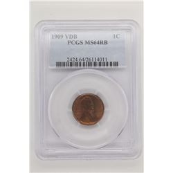 1909 VDB LINCOLN CENT PCGS MS64 RB