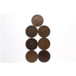 1864 thru 1870 INDIAN CENTS (7 coins)