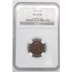 1931 S LINCOLN CENT NGC MS64 RB