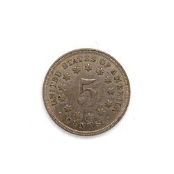 1868 Shield Nickel Choice AU