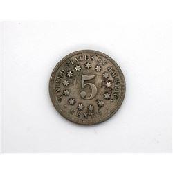 1869 Shield Nickel XF