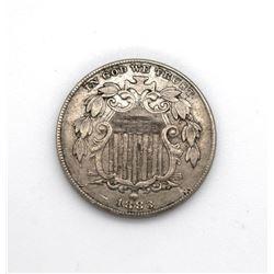 1883 Shield Nickel Choice AU