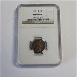 1931 D Lincoln Cent NGC MS64BN