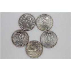 5 count 1949 Cuba 20 Centavos Unc.