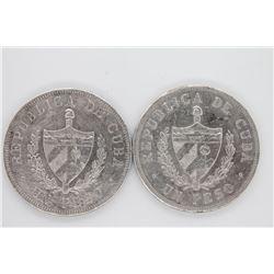 Two (2ct.) lot of Cuba 1933 Un Peso XF+