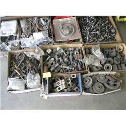 9 CONTAINERS OF ASSORTED NUTS, BOLTS, SPRINGS ETC.