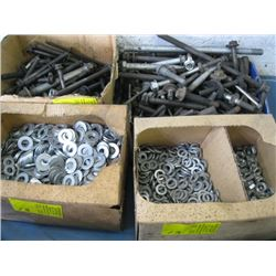 4 CONTAINERS OF ASSORTED WASHERS, BOLTS, ETC.