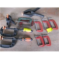 """5 METAL 3"""" C-CLAMPS, 2 - 2"""" C-CLAMPS, 5 PLASTIC CLAMPS"""