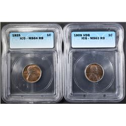 2 ICG GRADED LINCOLN CENTS: