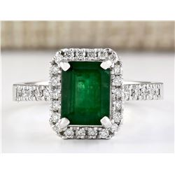 2.64 CTW Natural Emerald And Diamond Ring In 14k White Gold