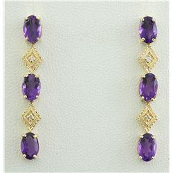 2.65 CTW Amethyst 18K Yellow Gold Diamond Earrings