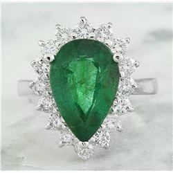 5.46 CTW Emerald 18K White Gold Diamond Ring