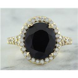 5.12 CTW Sapphire 18K Yellow Gold Diamond Ring