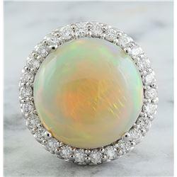 15.40 CTW Opal 14K White Gold Diamond Ring