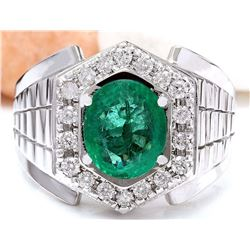 3.30 CTW Natural Emerald 18K Solid White Gold Diamond Ring