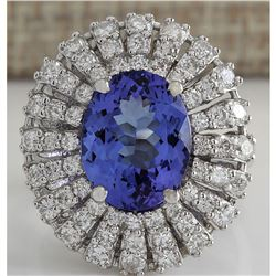 5.45 CTW Natural Blue Tanzanite And Diamond Ring In 18K Solid White Gold