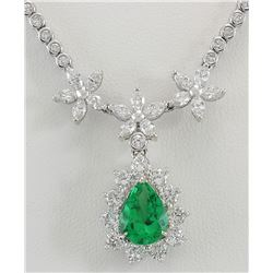 12.43 CTW Natural Emerald And Diamond Necklace In 18K White Gold