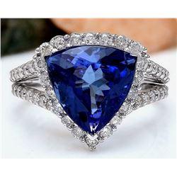 7.07 CTW Natural Tanzanite 18K Solid White Gold Diamond Ring