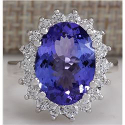 6.80 CTW Natural Blue Tanzanite And Diamond Ring 18K Solid White Gold