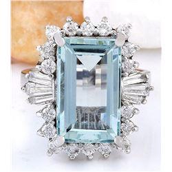 7.13 CTW Natural Aquamarine 18K Solid White Gold Diamond Ring