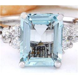 2.90 CTW Natural Aquamarine 18K Solid White Gold Diamond Ring