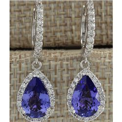 3.97 CTW Natural Tanzanite And Diamond Earrings 18K Solid White Gold